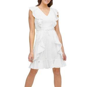 Tommy Hilfiger Flair Dot Cotton-Blend mini dress